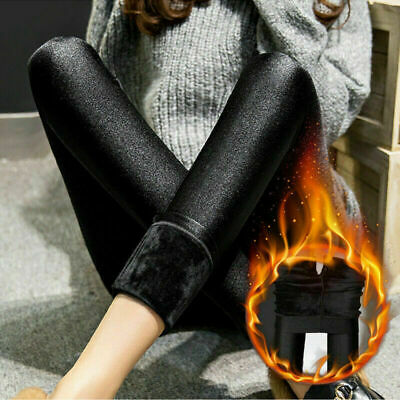 Women Winter Thick Extra  Warm Soft Fleece Lined Thermal Stretchy Leggings Pants