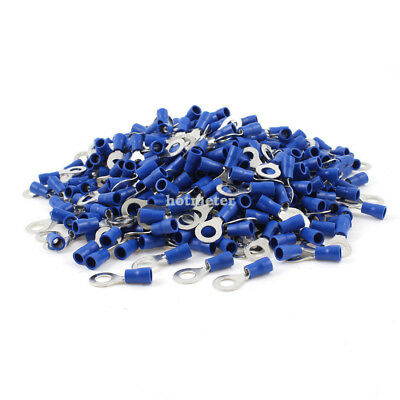 "H● 1000Pcs RV2-6 Pre Insulated Ring Terminals Blue for 1/4"" Stud"