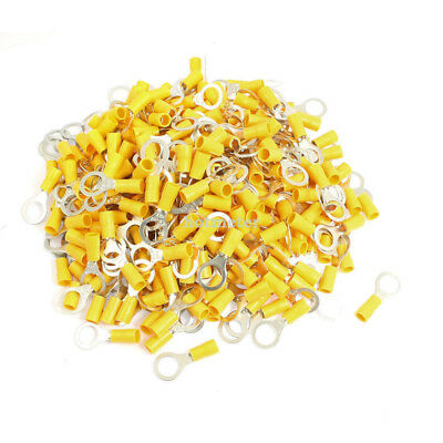 H● 500 Pcs RV5.5-10 AWG 12 -10 Yellow Sleeve Pre Insulated Ring Terminals