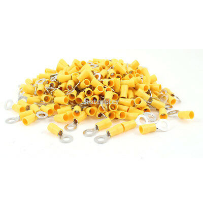 """H● 500 Pcs RV5.5-6 6.5mm 1/4"""" Yellow Sleeve Pre Insulated Ring Terminals"""