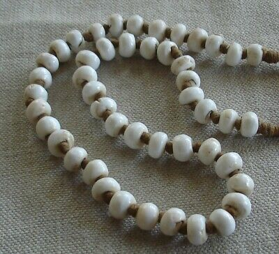 """Old Vintage African Opaque White Glass Padre Trade Beads Necklace ~ 25"""""""