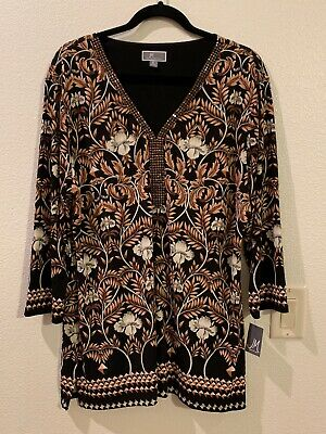 JM Collection Women's 3/4 Sleeve Beaded Y Neck Blouse Black XL NEW with Tag