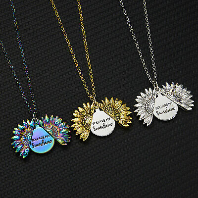 You Are My Sunshine Open Locket Sunflower Pendant Charms Necklace Jewelry