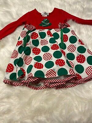 Rare Editions 3t Girl Christmas Dress White red green
