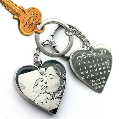Personalised Calendar and Photo Keyring, Heart Keychain, Anniversary gift