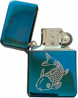 Emblems-Gifts Carp Fish Fishing Blue Ice Colour Star Petrol Lighter (T398)