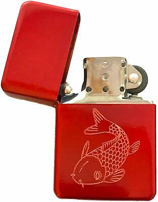 Emblems-Gifts Carp Fish Fishing Red Ice Colour Star Petrol Lighter (T398)