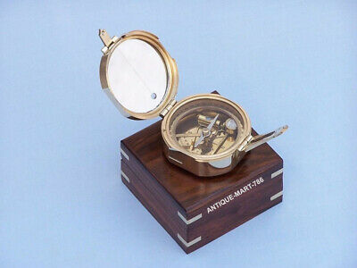 Solid Brass Heavy Brunton Nautical Antique Marine Compass With Wooden Box Gift