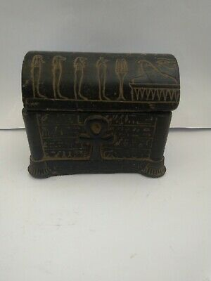 RARE ANTIQUE ANCIENT EGYPTIAN Jewelry Box Key Life Sons Horus Isis 1840 Bc