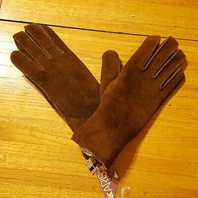 Women's Vintage Aris Brown Suede Leather Lined Driving Gloves *stains