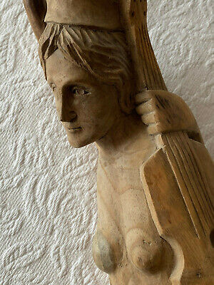 """Carved Drift Wood Mermaid Playing Violin 5 Strings Cello Thick Sculpted Hair 42"""""""