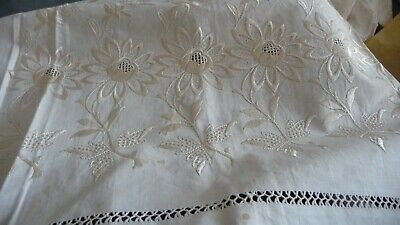 """#1219/7 Antique Bed PILLOW SHAM WHITE Cut Open Embroidered 42"""" x 29"""" FLOWERS"""