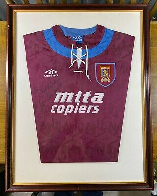 Paul Mcgrath Signed Aston Villa Football Shirt In A Framed Presentation