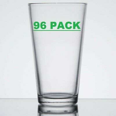 96 PACK Clear Pint Glass Cup 16 Oz Wide Mouth Restaurant Beer Case Commercial