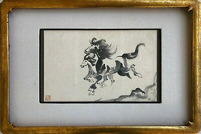 Antique / Vintage Chinese Original Ink Brush Horse Painting With Artist Sealed.