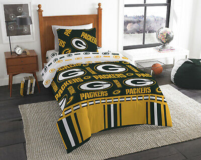 Green Bay Packers NFL Twin 4 Piece Comforter Bedding Team Logo Bed in Bag Set
