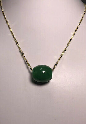 Natural Green Jadeite Jade Barrel Pendant with Gold Chain Necklace