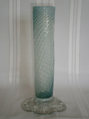 Antique Victorian Vintage Opalescent Blue Swirl Glass Vase 1900's Europe
