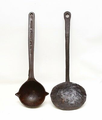 Pair Antique Chicago Specialty MFG Cast Iron Lead Melting Spoon Ladle 18'' Long