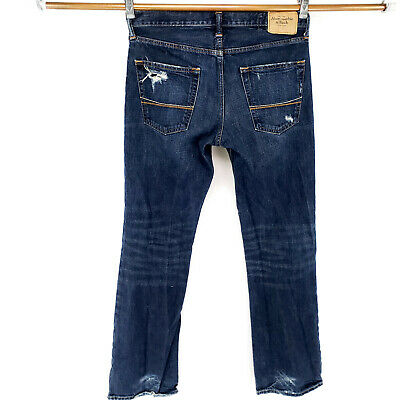 ABERCROMBIE & FITCH Baxter Low Rise Slim Boot 30x32 Blue Jeans Button Fly WOW