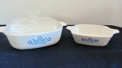 2 Corning Ware Casserole Baking Dish P-1-B w/ glass Pyrex lid and P-41 Petite Pa
