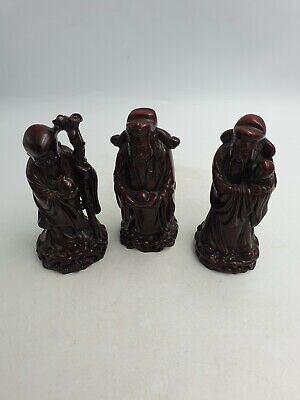 Chinese Mahogany Coloured Resin 3 Wise Sage Men With Gifts Figurines Ornaments