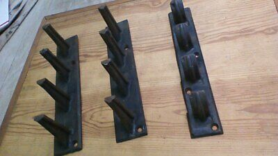 Lot of 3 ANTIQUE VINTAGE CAST IRON  BARN TACK INDUSTRIAL HOOKS HANGERS
