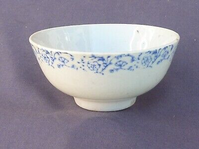 Beautiful Chinese Duck Egg Blue Bowl With Unusual Flower Design To Rim