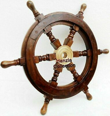 Vintage Wooden Ship Wheel Pirate Captain Boat Steering Nautical Maritime 18''
