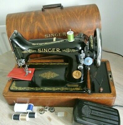 Singer 99K Electric Vintage Sewing Machine****2 LAYERS LEATHER SEWN SAMPLE***