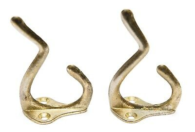 """2 Double Coat Hat Hall Towel Clothes Large Hooks Brass Plated 3"""""""