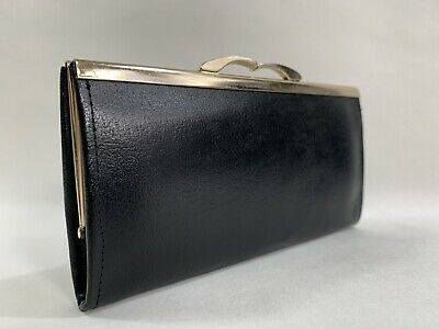 Vintage 1960s Black Leather Coin Purse Gold Tone Fittings Black Leather Lining