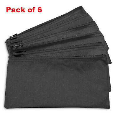 Zipper Bank Deposit Money Bags Cash Coin Pouch Tool Organizer-6 Pack in Black