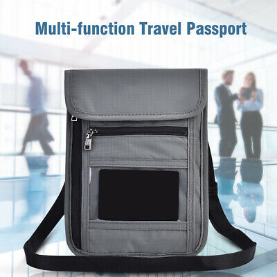 Travel Secure Neck Pouch Passport ID Card Ticket Money Wallet Nylon Bag Gray NEW