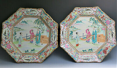 Pair Large Antique Chinese Export Canton Famille Rose Porcelain Plate Octogon