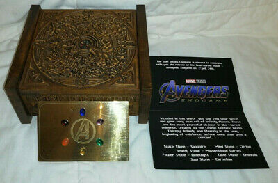 Brass Plaque and Real Infinity (Gem)Stones in Box from Avengers Endgame Premiere