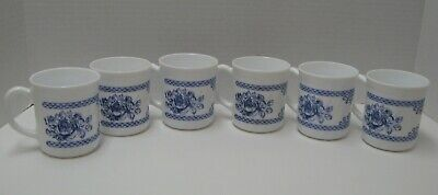6 Arcopal Honorine Cups White With Blue Roses & Border Very Nice!