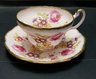 Vintage Foley England Cup And Saucer Pink Ground Gilt Pink Roses