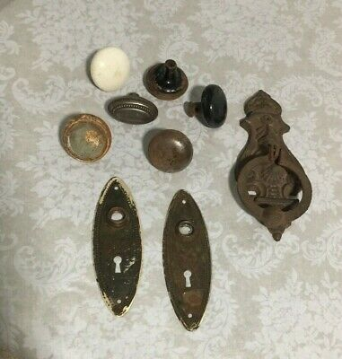 Estate Lot Vintage Antique Mixed Brass Metal Porcelain Knobs Plates Door Knocker
