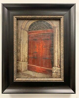 "Red Door Original Oil Painting Hand Painted On Canvas Framed 18.5"" Wide x 22.5"""