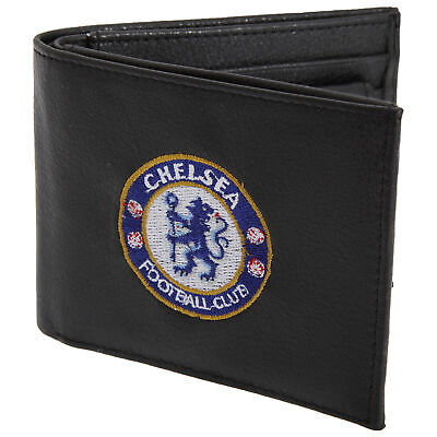 Chelsea FC Mens Official Black Leather Wallet With Embroidered Crest (SG1233)