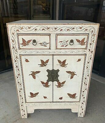 Chinese Antique White Cabinet With Two Doors and Two Drawers Circa 1940S