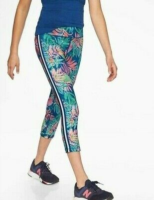 Athleta Girl Tropical Capri  Pants Leggings Side Stripe Size 8-10