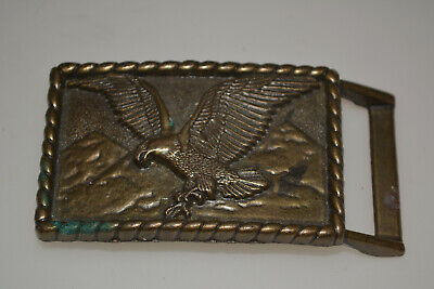 AUTHENTIC VINTAGE SOARING AMERICAN BALD EAGLE BELT BUCKLE 1970s SOLID BRASS RARE