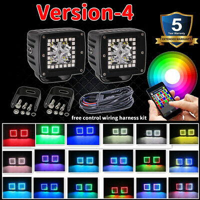"""Pair 48W LED Work Light 3"""" inch Cube Pods Bluetooth RGB Halo & Wiring Harness"""