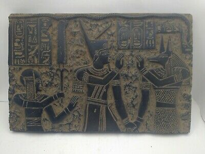 RARE ANTIQUE ANCIENT EGYPTIAN Stela God Anubis and King Amun 2god 1735-1651 Bc