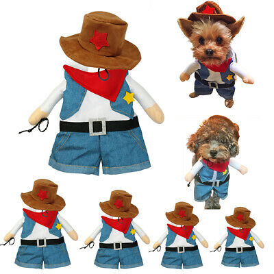 Pet Dog Cat Funny Costumes Puppy Kitty Casual Cowboy Party Clothes Suits Outfits