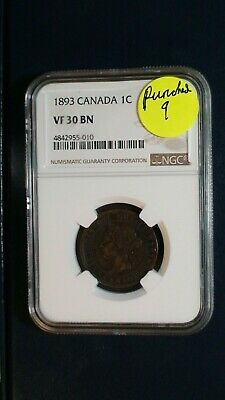 1893 Canada LARGE Cent NGC VF30 BN 1C Coin PRICED TO SELL RIGHT NOW!