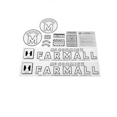 FA605SB Hood & Safety Decal Set Kit for Farmall IH International SUPER M Tractor