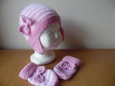 Hand knitted baby girls hat and mittens, pink/white, size 9-12 months
